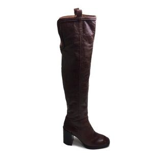 Jeffrey Campbell Brown Leather Over The Knee Boots